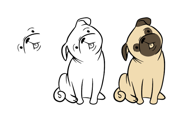 Step-by-step drawing process of sitting Pug